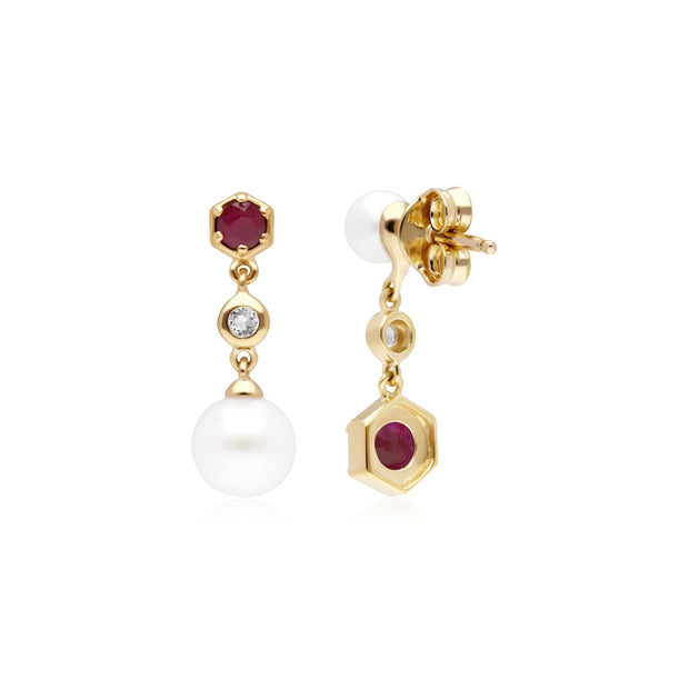 Modern Pearl, Ruby & Topaz Mismatched Drop Earrings in Gold Plated Sterling Silver