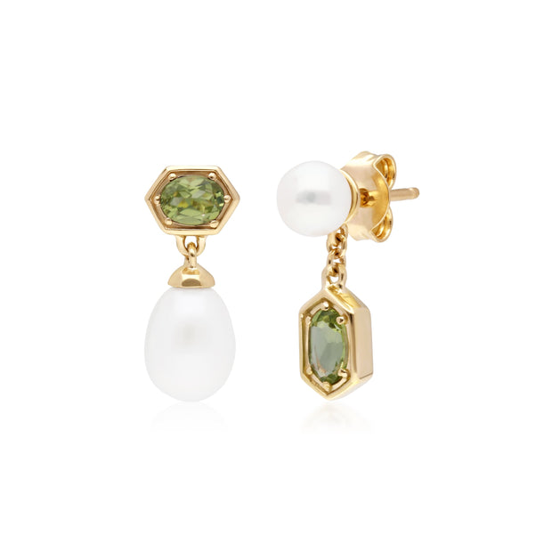 Modern Pearl & Peridot Mismatched Drop Earrings in Gold Plated Sterling Silver