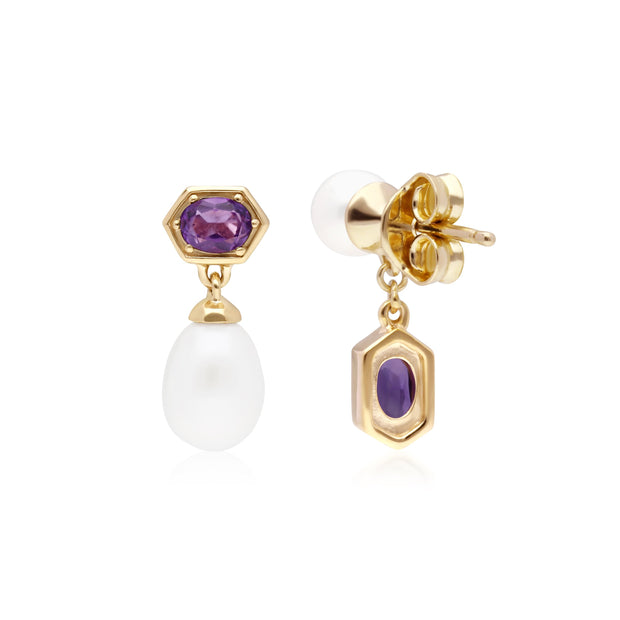 Modern Pearl & Amethyst Mismatched Drop Earrings in Gold Plated Sterling Silver