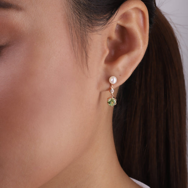 Modern Pearl, Peridot & Topaz Mismatched Drop Earrings in Rose Gold Plated Sterling Silver