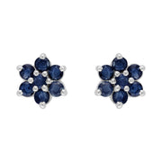 Floral Sapphire & Diamond Cluster Stud Earrings Image 1