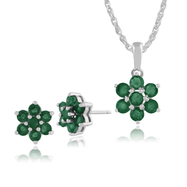 Floral Emerald Cluster Stud Earrings & Pendant Set Image 1