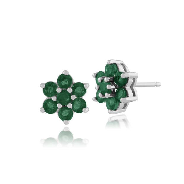 Floral Emerald Cluster Stud Earrings & Pendant Set Image 2
