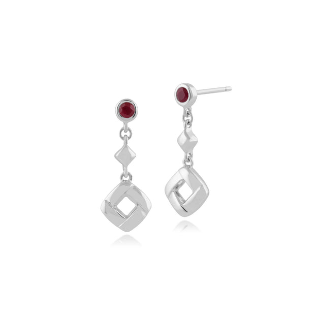 Classic Round Ruby Square Crossover Drop Earrings in 925 Sterling Silver