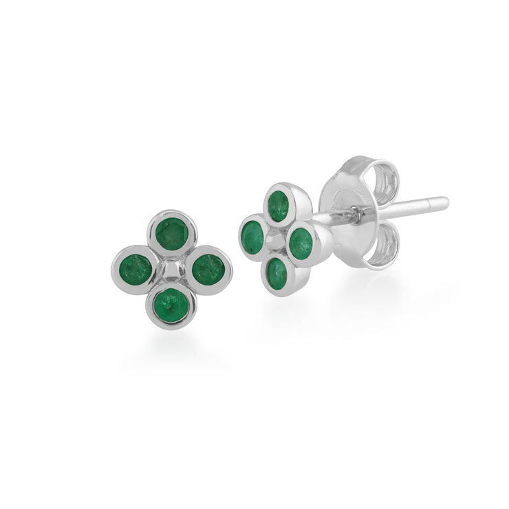 Floral Emerald Clover Stud Earrings Image 1