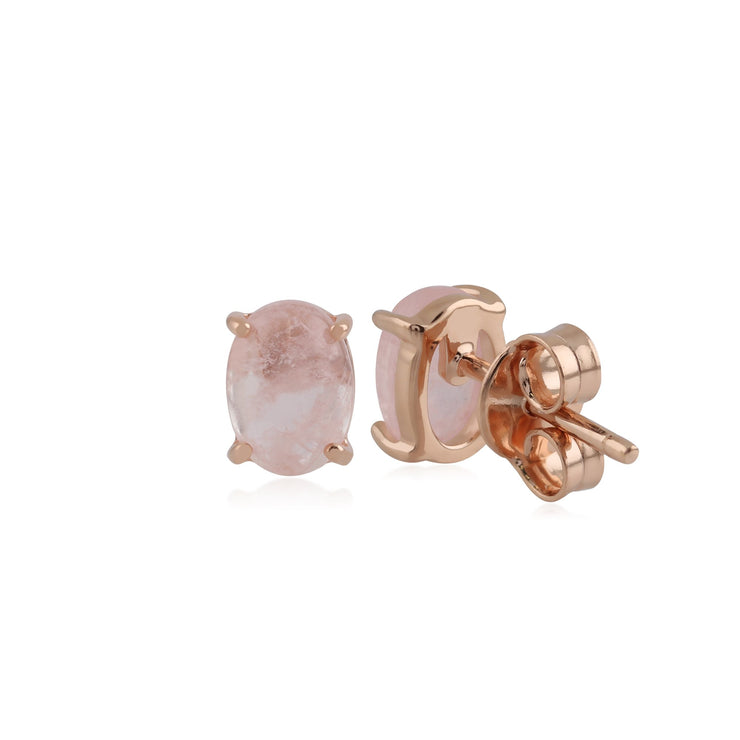 Classic Milky Morganite Oval Studs Image 2