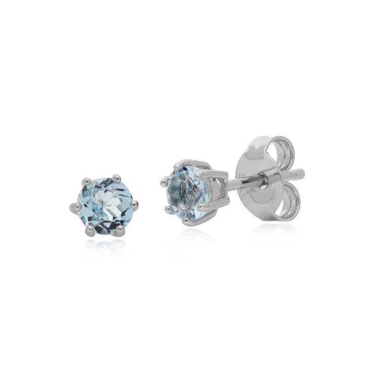 Classic  Blue Topaz Stud Earrings & Bracelet Set Image 2