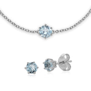 Classic  Blue Topaz Stud Earrings & Bracelet Set Image 1