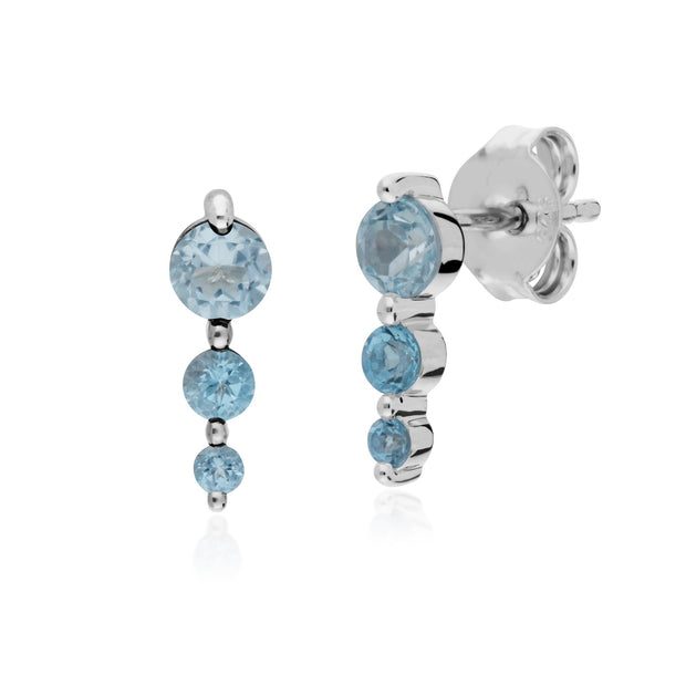 Classic Three Stone Blue Topaz Stud Drop Earrings Image 1