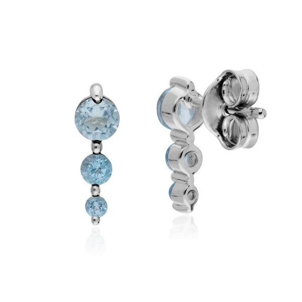 Classic Three Stone Blue Topaz Stud Drop Earrings Image 2