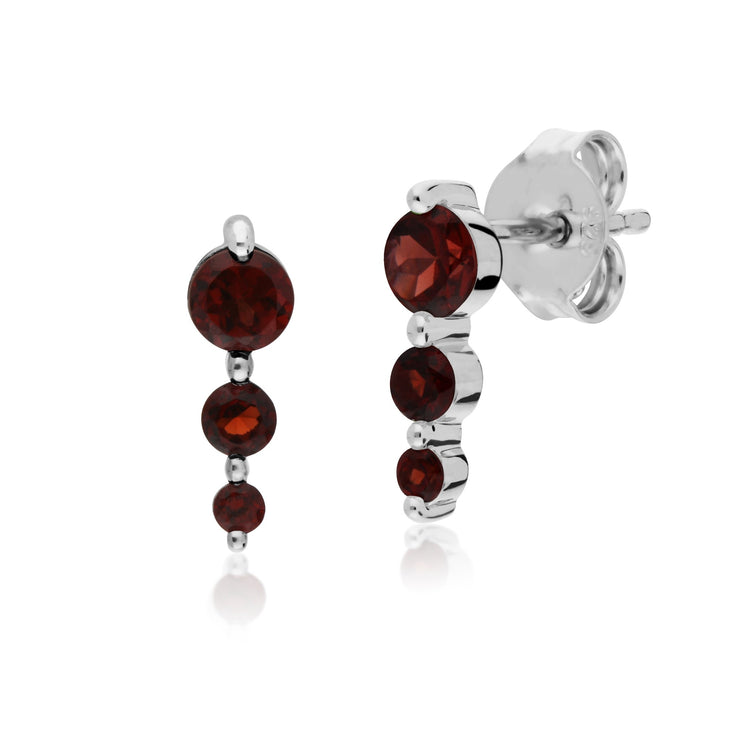 Classic Round Garnet Gradient Earrings & Bracelet Set Image 2