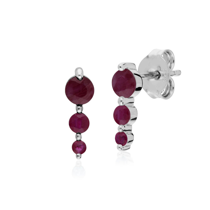 Classic Three Stone Ruby Stud Drop Earrings Image 1