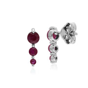 Classic Three Stone Ruby Stud Drop Earrings Image 2