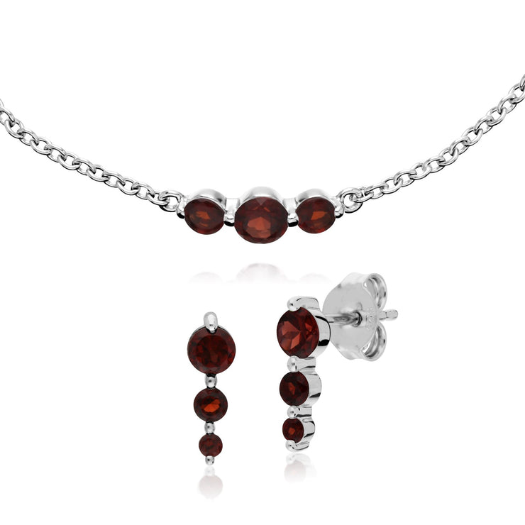 Classic Round Garnet Gradient Earrings & Bracelet Set Image 1
