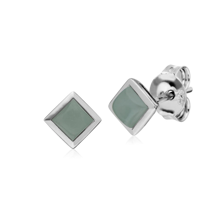 Geometric Square Jade Stud Earrings Image 1