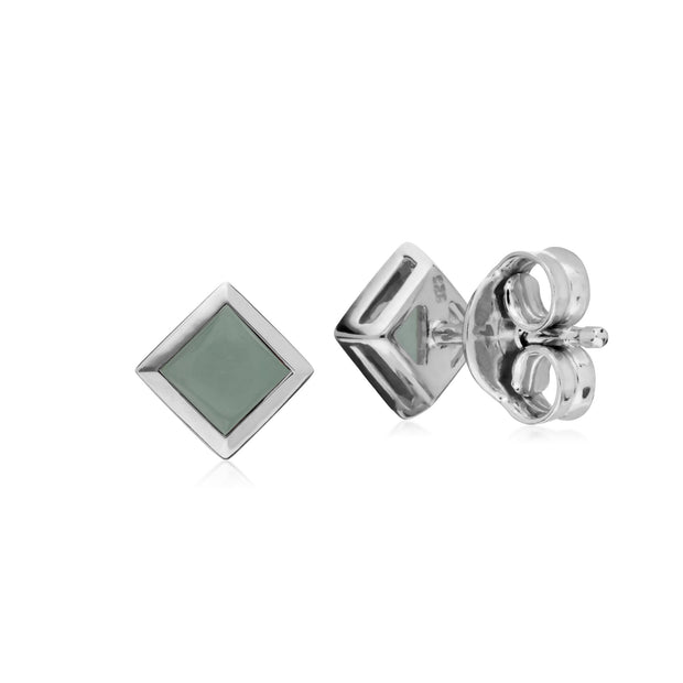Geometric Square Jade Stud Earrings Image 2