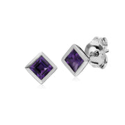 Geometric Square Amethyst Stud Earrings Image 1