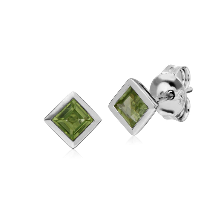 Geometric Square Peridot Stud Earrings Image 1