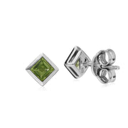 Geometric Square Peridot Stud Earrings Image 2