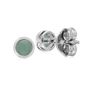 Geometric Round Jade Stud Earrings Image 2