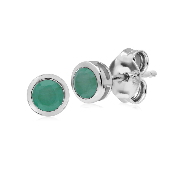 Geometric Round Emerald Stud Earrings Image 1