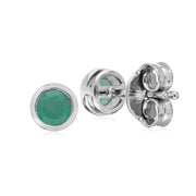 Geometric Round Emerald Stud Earrings Image 2