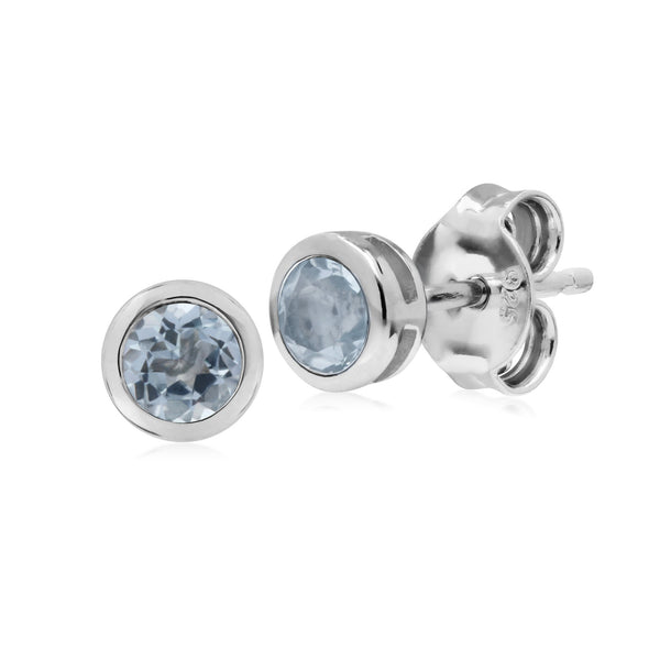 Geometric Round Blue Topaz Stud Earrings Image 1