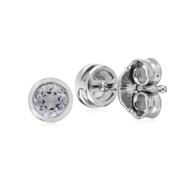 Geometric Round Clear Topaz Stud Earrings Image 2