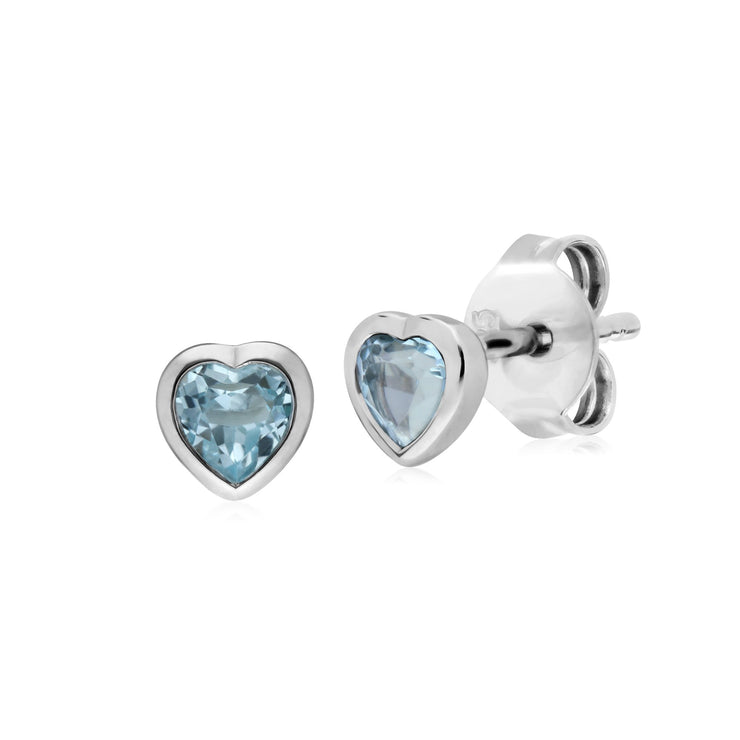 Classic Blue Topaz Heart Stud Earrings Image 1