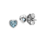 Classic Blue Topaz Heart Stud Earrings Image 2