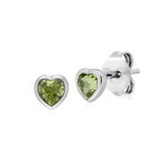 Classic Peridot Heart Stud Earrings Image 1