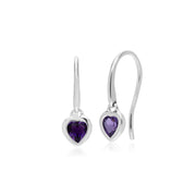 Classic Amethyst Heart Drop Earrings Image 1