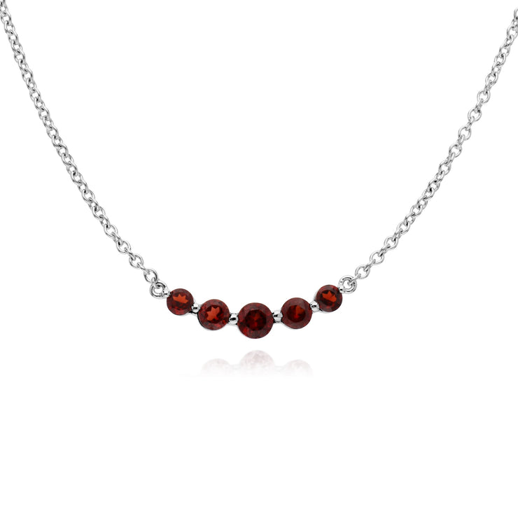 Classic Round Garnet Five Stone Ring & Necklace Set Image 2