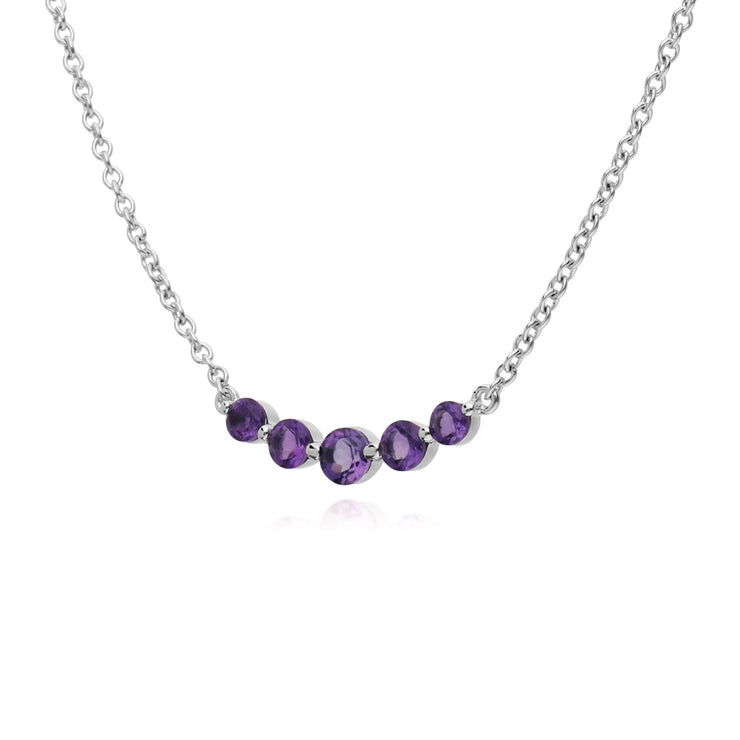 Classic Five Stone Amethyst Necklace Image 2