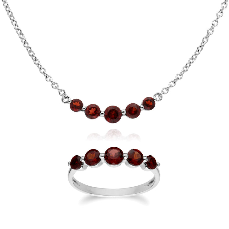 Classic Round Garnet Five Stone Ring & Necklace Set Image 1