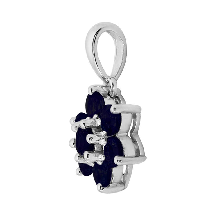 Floral Sapphire Cluster Pendant on Chain Image 2