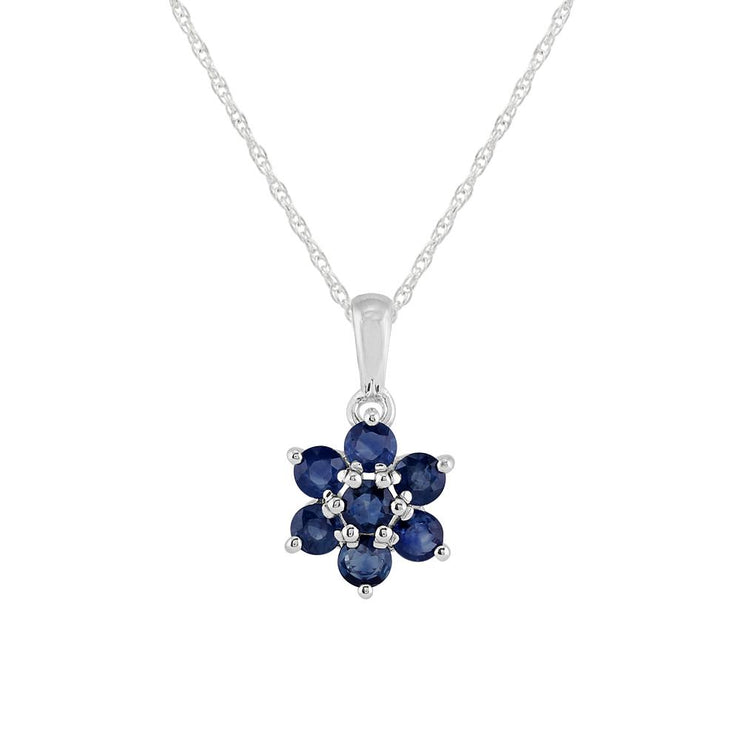 Floral Sapphire Cluster Pendant on Chain Image 1