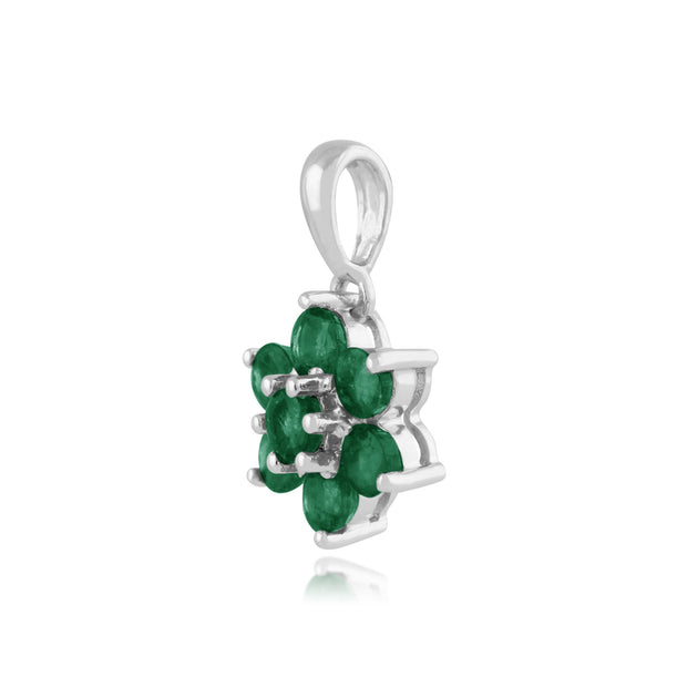 Floral Emerald Cluster Stud Earrings & Pendant Set Image 5