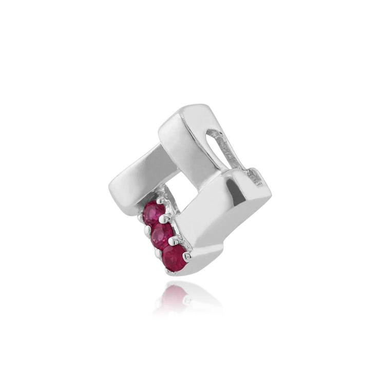 Classic Ruby Square Crossover Pendant Image 2
