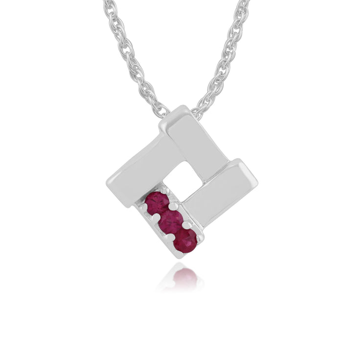 Classic Ruby Square Crossover Pendant Image 1