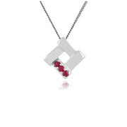 Classic Round Ruby Three Stone Square Crossover Pendant in 925 Sterling Silver