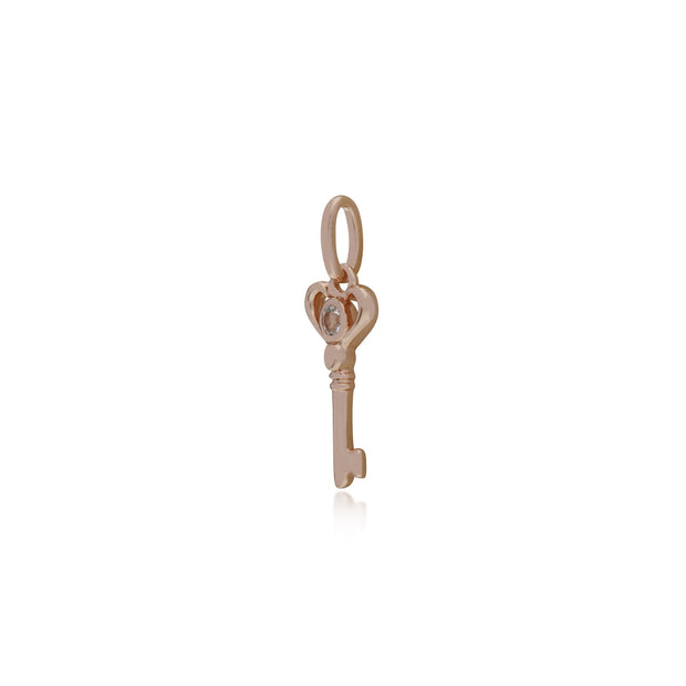 Clear Topaz Rose Gold Key Charm Image 2