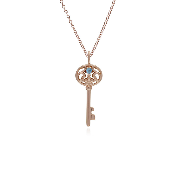 Blue Topaz Gold Plated Big Key Charm Image 1