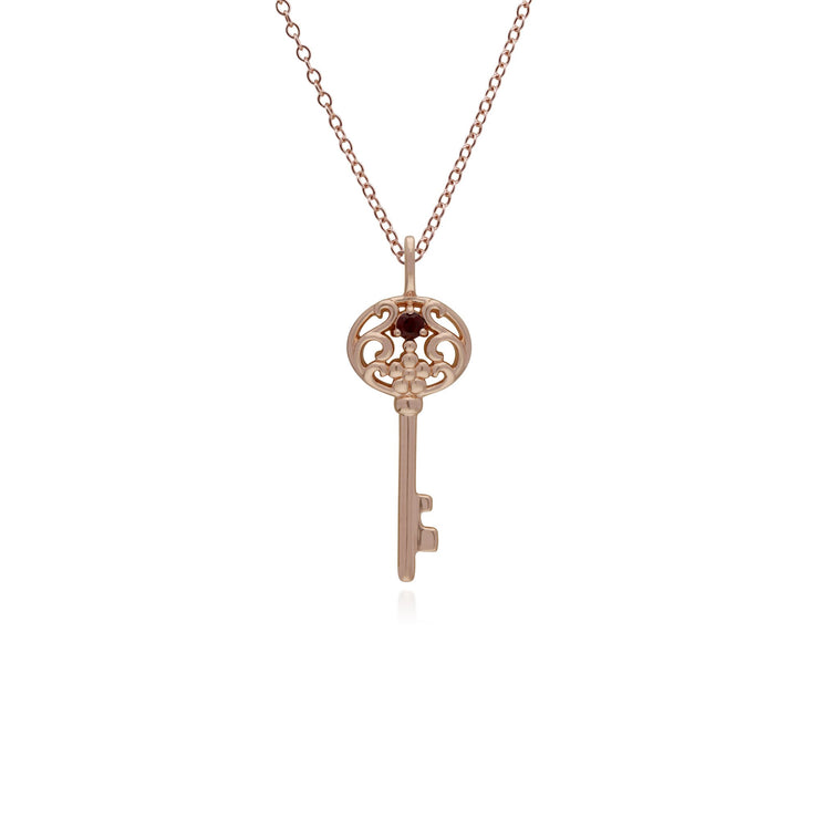 Garnet Gold Plated Big Key Charm Image 1