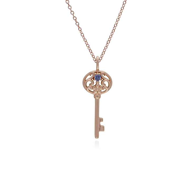 Tanzanite Gold Plated Big Key Charm Image 1