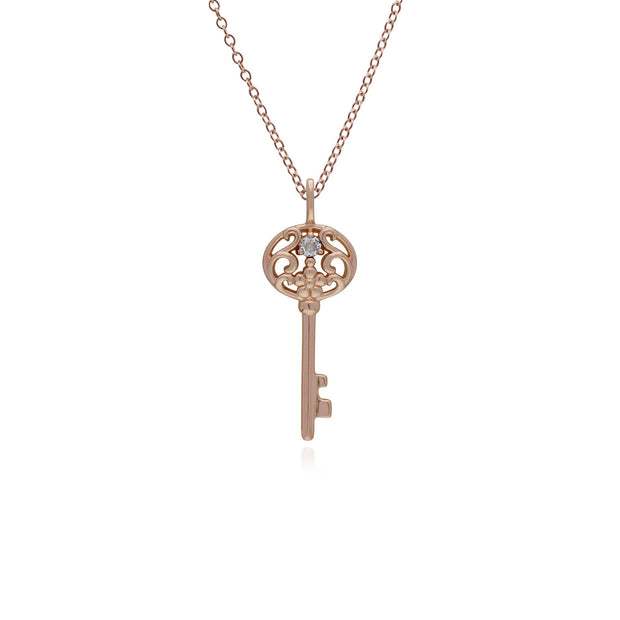 Clear Topaz Gold Plated Big Key Charm Image 1