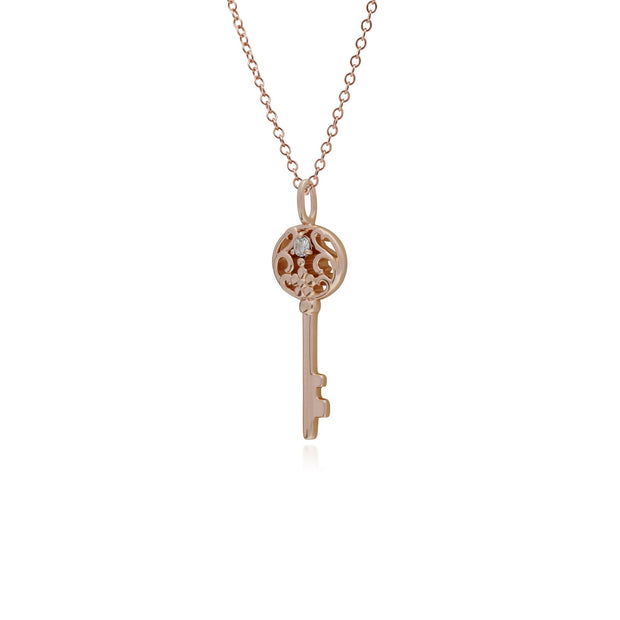 Clear Topaz Gold Plated Big Key Charm Image 2