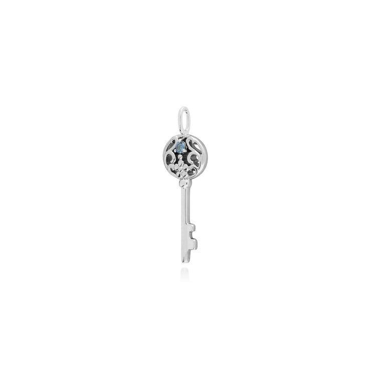 Aquamarine Silver Big Key Charm Image 2