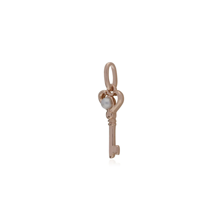 Pearl Rose Gold Key Charm Image 2
