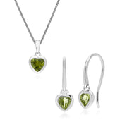 Classic Heart Peridot Earrings & Pendant Set Image 1